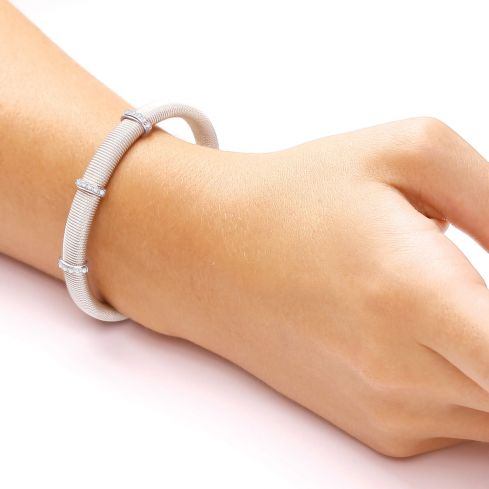 Sterling Silver Mesh Bangle Set With White Cubic Zirconia Cubic Zirconia Silver