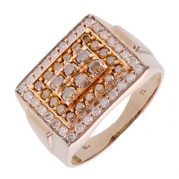 Pre-Owned 14ct Rose Gold Champagne Diamond Signet Ring - 11G